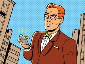 cartoon guy with phone
