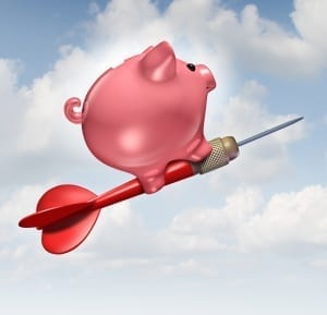 image of piggy bank flying on a dart