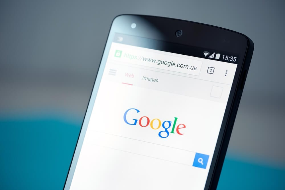 photo of mobile phone on Google search page