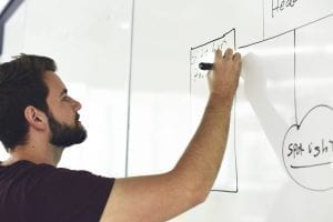 photo of man writing on white board