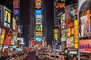 image of Times Square advertising to reach the masses