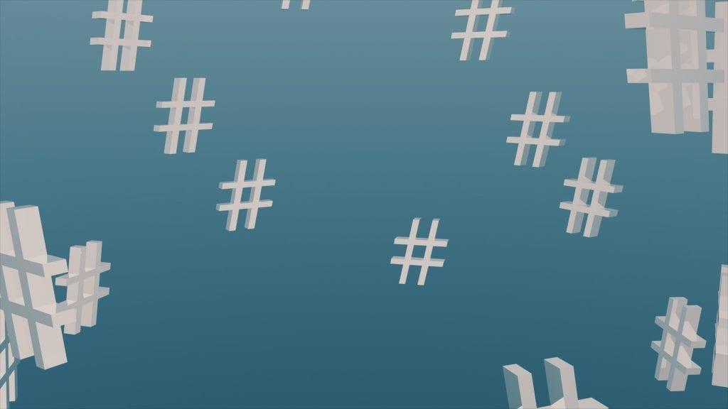 image of hashtags on blue background