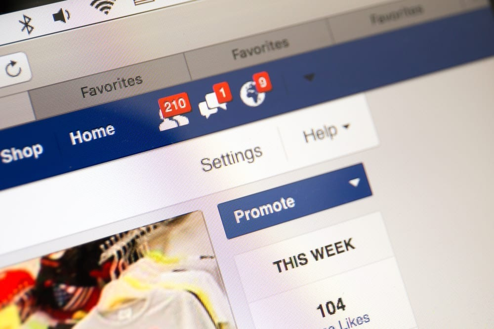 closeup photo of a facebook business page