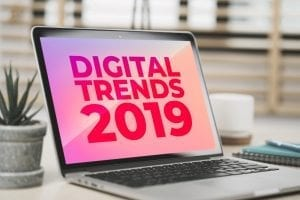 photo of computer screen with the words digital trends 2019