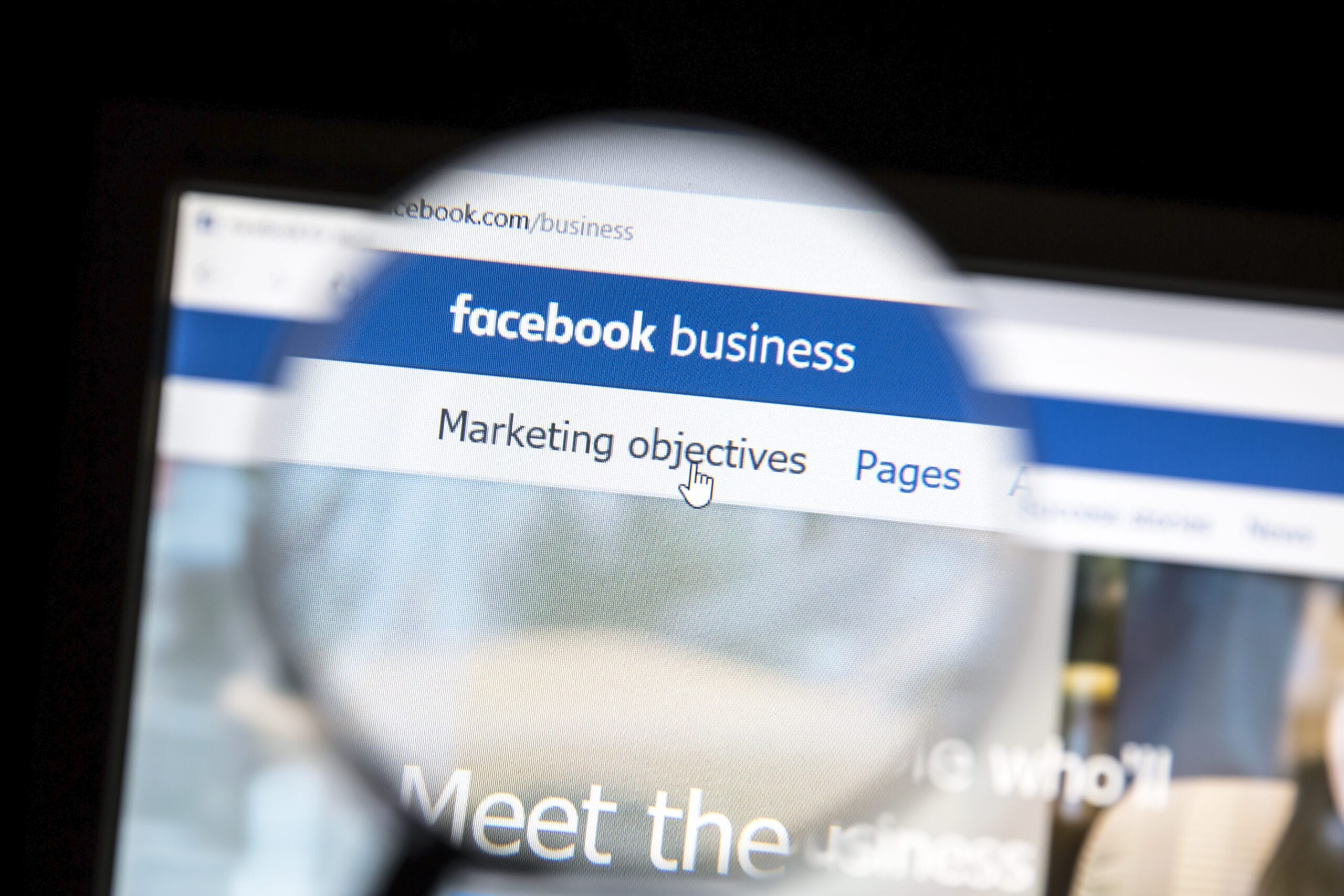 photo illustrating concept of Facebook business marketing